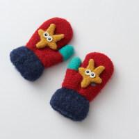 可爱保暖挂脖绳加厚儿童手套男孩子冬天2-4岁宝宝手套女