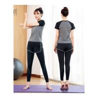 瑜伽服套装女运动2018新款涤纶两件套户外跑步健身服时尚显瘦 黑色 黑灰短袖+长裤
