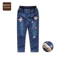 【超值热卖】binpaw儿童牛仔夹裤 女学生冬季加绒韩版修身保暖绣花牛仔棉裤
