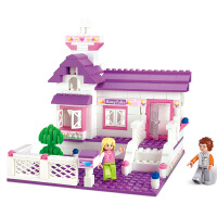 【品牌授权】小鲁班粉色梦想女孩系列儿童益智拼装积木玩具 甜蜜小屋M38-B0156