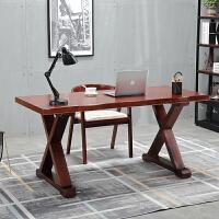 全实木办公桌电脑台式桌简约现代书桌设计桌家用原木工作台写字桌 120*60*75 厚度5cm