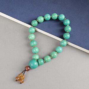 C869清《绿松石念珠》(绿松石念珠配葫芦形玛瑙点缀,包浆丰润)