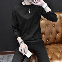 男士长袖T恤男2018春夏季新款韩版潮流纯色圆领卫衣薄款男上衣服