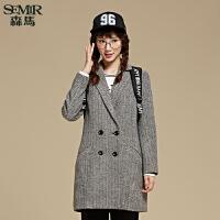 森马毛呢外套 冬装 女士便服中长款直筒格纹外套韩版潮
