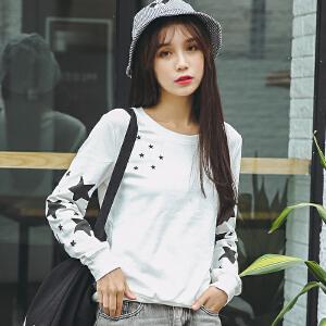 新款秋装开学季上衣服宽松长袖t恤女装学生韩版百搭新款秋冬季