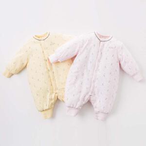 夹棉戴维贝拉冬季宝宝加厚保暖连体衣DB6544
