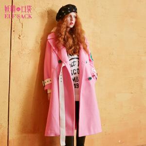 【2件3折】妖精的口袋浪漫诺曼底冬装新款双排扣系带毛呢大衣外套女