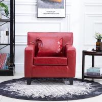 简约现代小户型单人沙发北欧懒人沙发卧室小沙发网咖电脑沙发椅子 酒红色 油蜡皮