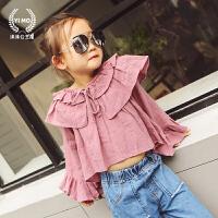 女童打底衫春秋2018新款童装韩版儿童长袖棉麻娃娃衫喇叭袖T恤潮