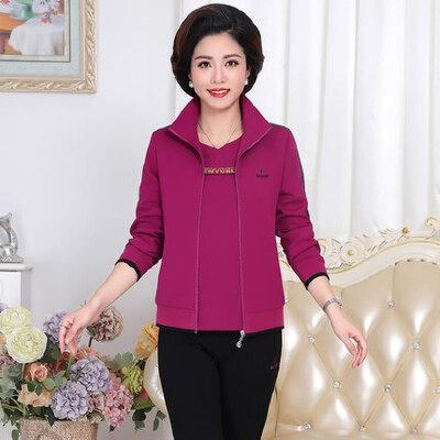 大码女装外套妈妈装中老年运动服套装女款三件套40岁50岁 品质保证 售后无忧 支持货到付款