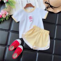 女宝宝洋气套装夏季2018韩版男小童女童时尚运动套装儿童夏装