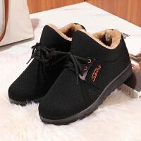 冬季棉鞋女鞋包跟居家室内防滑男鞋棉鞋厚底妈妈鞋中老年保暖鞋子 黑色 标准码A702女