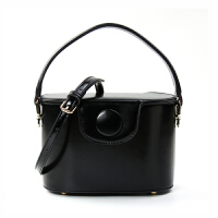 小瑞靓包圆扣饭盒水桶包包女新款时尚斜挎包女手提包单肩小包 黑色-少量