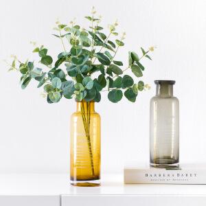 奇居良品 北欧ins风字母小花瓶家居装饰花器水培透明玻璃花瓶 罗恩