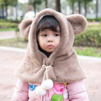 儿童帽子女公主男童帽子围巾一体韩版潮小孩宝宝儿童一体帽