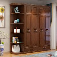 中式实木衣柜现代简约四门六门卧室组合大容量木质转角衣柜