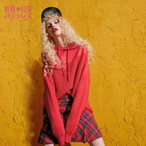 【每满200减100 上不封顶】妖精的口袋日落之前秋冬装新款宽松针织拼接连帽套头卫衣女