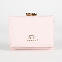 钱包女短款学生 韩版 可爱小手包猫咪小清新折叠零钱包 女生钱包