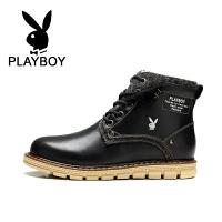 花花公子 新款马丁靴男靴保暖棉靴英伦高帮鞋户外工装靴 德-CX37593