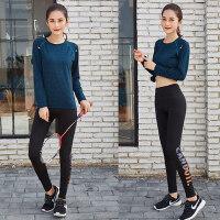 大码运动套装胖mm200斤秋装跑步健身服瑜伽速干两件套胖妹妹女装