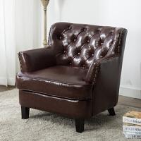 单人沙发美式懒人布艺皮北欧休闲客厅卧室闲服装店可爱小沙发椅子 单人