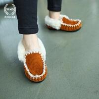 童装女童秋冬装棉鞋新款 韩版豹纹翻边低帮加绒雪地靴真皮豆豆鞋