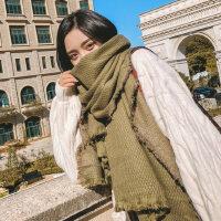 韩版仿羊毛围巾女士加厚保暖长款百搭羊绒超大纯色披肩两用