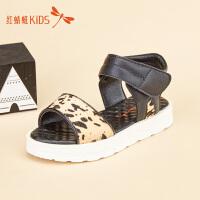 红蜻蜓童鞋夏季新款豹纹厚底舒适女童儿童凉鞋