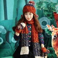 围巾手套三件套可爱学生礼物保暖套装萌韩版女士毛线帽子