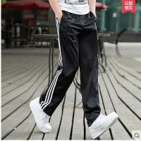宽松男士运动裤男女春夏 薄运动长裤子卫裤休闲裤篮球裤 黑色白条 -涤纶款