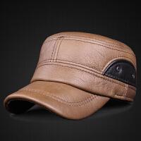 真皮帽子秋冬季男士头层牛皮平顶帽中老年加厚保暖护耳鸭舌帽