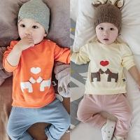 婴儿T恤衫春秋季宝宝长袖全棉上衣新生儿男女童装0-1岁3-6-12个月