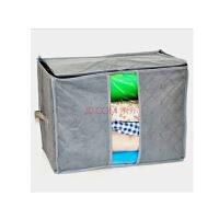 卡秀 收纳盒 竹炭收纳带视窗床单被套收纳箱 储物箱 灰色40*30*25