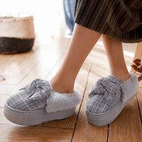 棉拖鞋女包跟室内厚底月子居家用可爱加绒毛棉鞋