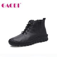 高蒂马丁靴冬季新品系带短筒牛皮女士短靴厚底圆头平跟靴子女