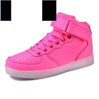 空军一号粉色高帮板鞋usb充电灯鞋女童l发光鞋女鞋2017新款