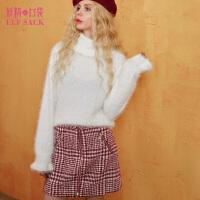 妖精的口袋荷叶密语秋冬装新款宽松短款高领纯色套头毛衣女
