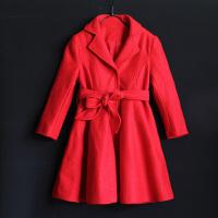 2018女童冬季新款羊毛呢大衣儿童宝宝中大童红色外套亲子装母女装