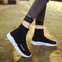休闲高帮袜子运动鞋针织毛线半靴女厚底弹力袜靴