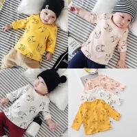 婴儿长袖上衣春秋休闲男女宝宝T恤衫纯棉套头弹力0-1岁新生儿衣服