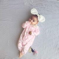 婴儿连体衣服宝宝新生儿春款长袖0岁5个月休闲外出薄款哈衣