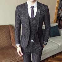 西装男修身韩版潮帅气西服三件套休闲男士发型师西装套装