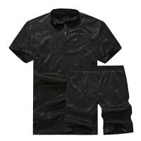 夏季肥佬休闲套装加肥加大码短袖T恤 胖子男装宽松迷彩五分裤短裤