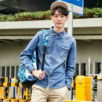 森马水洗长袖衬衫 2017春季新款 男士韩版方领修身衬衣潮男专柜款