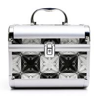 铝合金化妆箱手提大容量硬化妆盒小号便携化妆品收纳箱化妆包 银色【波点图案】