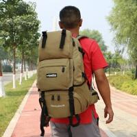 双肩包男士背包旅行包户外支架登山包40L 大容量旅游包女学生书包 卡其色加强版40L 送品牌雨罩