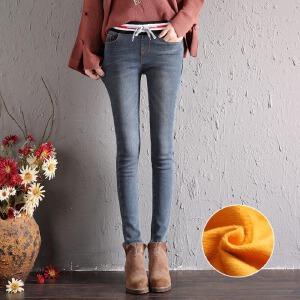 冬季加绒松紧腰牛仔裤女高腰学生加棉修身带绒弹力小脚裤长裤