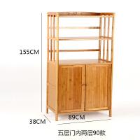 带门竹厨房层架微波炉电器置物架子浴室用品落地4层办公收纳柜子