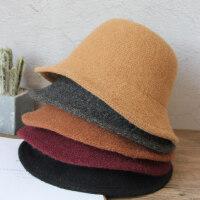 女士时尚毛线帽潮休闲针织帽 新款英伦羊毛呢渔夫帽女 韩版百搭纯色礼帽女