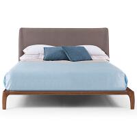 北欧实木床主卧床简约布艺软靠实木床1.8米 双人床欧式定制家具